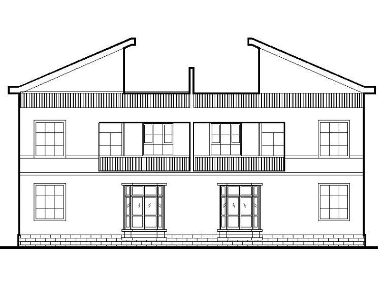 两户双联式,二层半新农村别墅建筑设计文本(包含效果图+CAD)