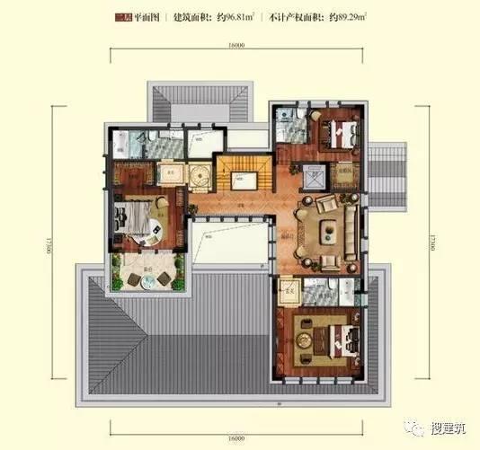 万科罕见的270㎡5房6卫双拼户型,庭院高达228㎡_26