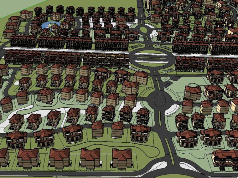 [云南]欧式居住区规划建筑SU模型下载