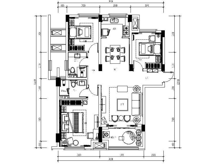 [株洲]现代简约样板房设计施工图(含效果图)