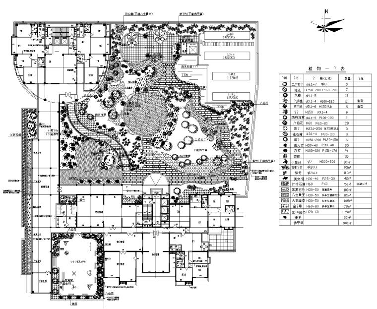 21套屋顶花园CAD施工图(10)某商住楼屋顶花园设计施工图
