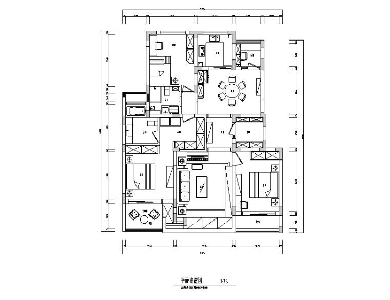 美式田园风四居室住宅设计施工图(附效果图)