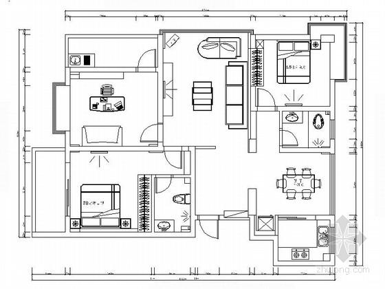 [江西]枢纽中心区现代三居室装修施工图(含效果)