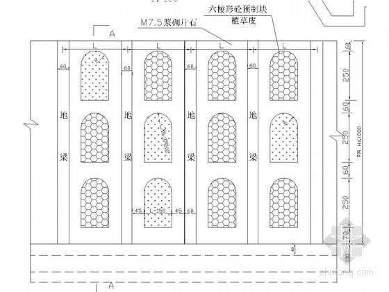 地梁间窗孔式护面墙加六棱砖培土植草结构图