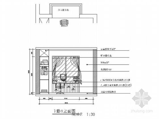[湖南]创新型小区现代简约两居室设计装修图(含效果)主卧立面图