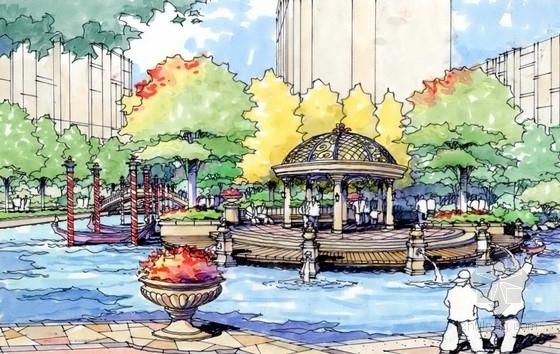 [南京]现代滨水城市居住区规划设计方案-景观效果图