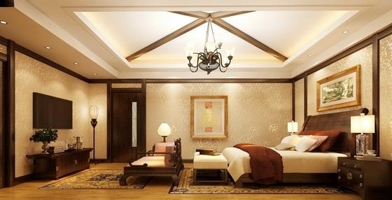 [昆山]新古典双层别墅样板房装修图(含效果)卧室效果图