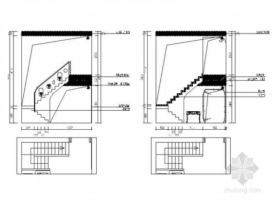 名师设计田园风情复式样板间装修施工图(含效果)楼梯间立面图