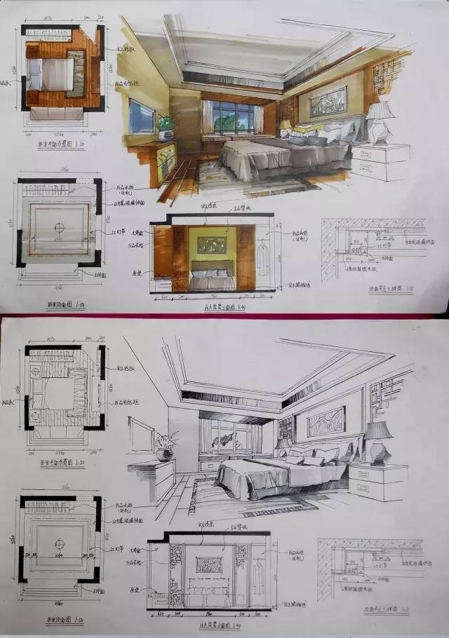 室内手绘 室内设计手绘马克笔上色快题分析图解_44