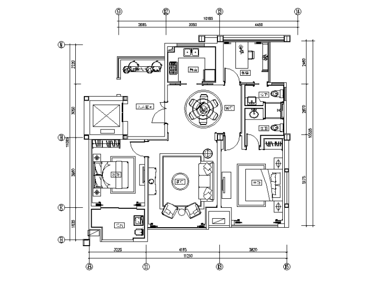 简欧风格样板房装修CAD施工图(含效果图)