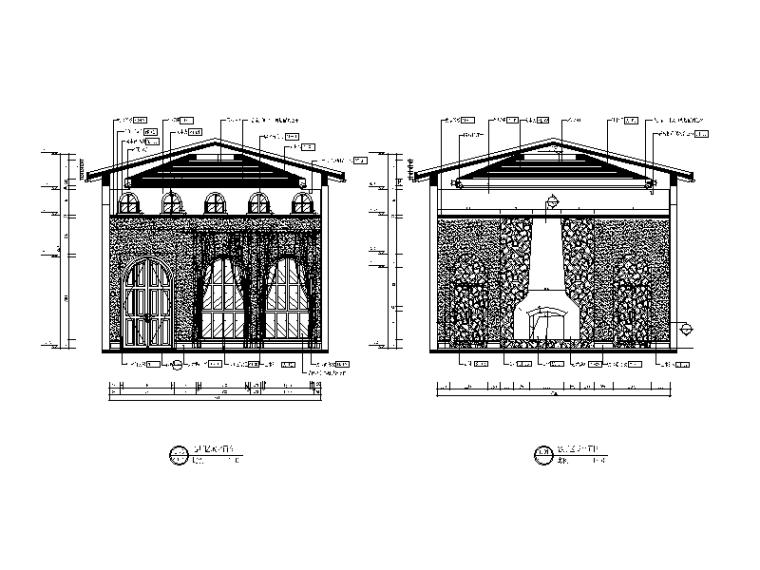[河南]托斯卡纳效果风格v效果CAD施工图(含别墅cad2014设置标注大小图片