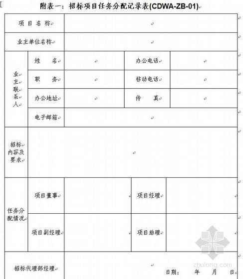 招标表格及公司内部程序样表