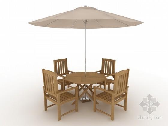 户外休闲桌椅组合3d模型下载
