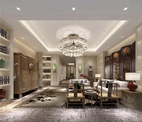 [北京]大型金融商贸区典雅新中式风格别墅室内装修设计方案