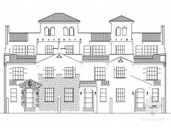 某三层三联排别墅建筑方案图