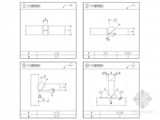 手绘钢结构标准焊缝节点构造详图