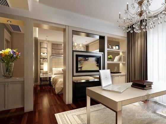 欧式卧室带书房3d模型下载