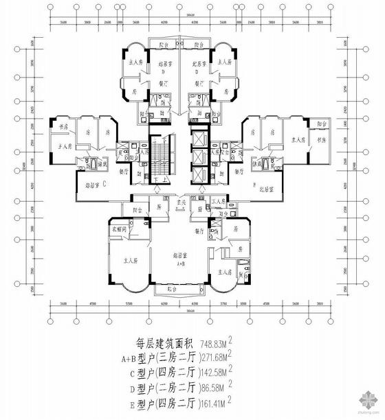 塔式高层一梯四户户型图(272/143/87/161)