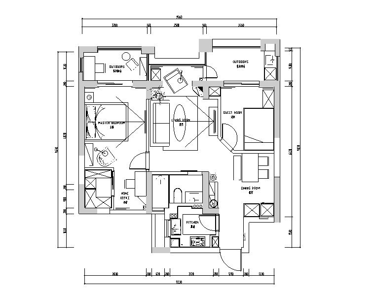 简约休闲风德盛博奥城住宅设计施工图(附效果图)