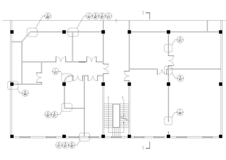 [金螳螂]轻钢龙骨纸面石膏板隔墙设计施工图收口节点深化-石膏板隔墙平面节点索引图