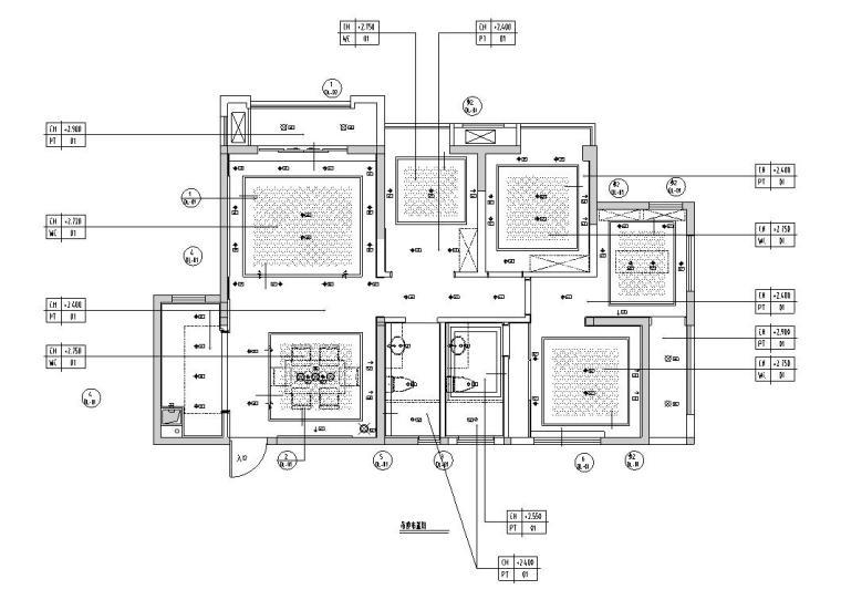 [福州]正祥香榭芭蕾样板房户型二室内施工图设计(包含实景图)-住宅装修-土木资料网