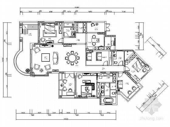 [上海]某200平现代欧式五居室样板间装修图纸(含效果)
