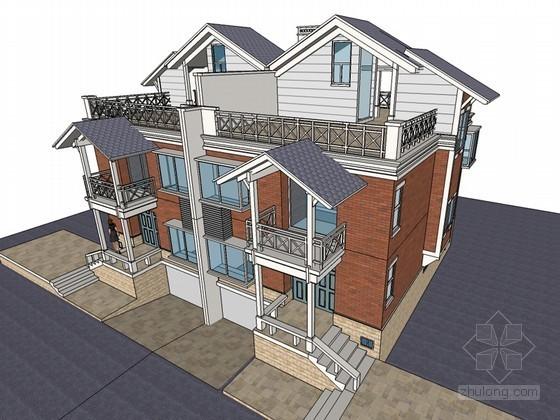 联排住宅SketchUp模型下载-联排住宅