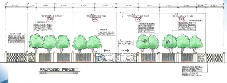 [海南]田园居住区景观方案修改及深化方案-入户立面图