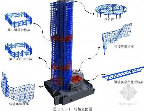 [北京]钢管砼框架核心筒结构超高层钢结构深化施工方案(近100页 丰富三维图)