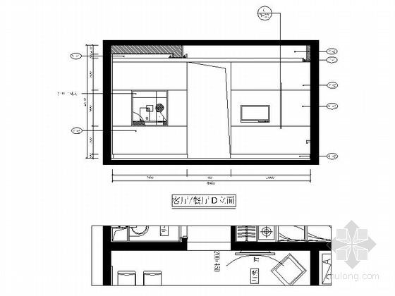 自然现代风格两居室样板房装修图(含效果)客厅餐厅立面图