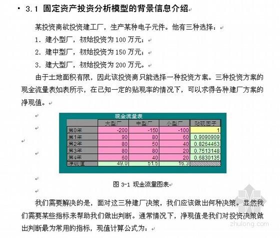 [毕业论文]基于Excel的投资决策分析及建模(2010-06)