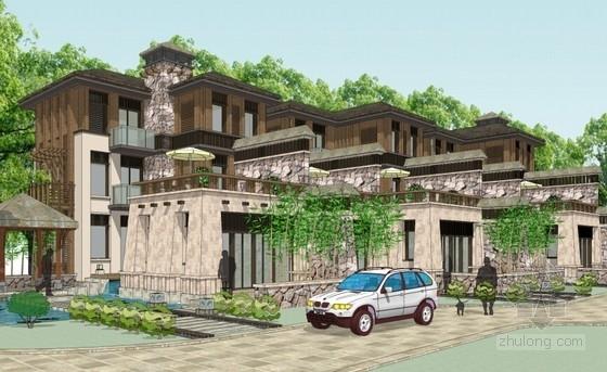 [海南]3层新中式别墅建筑设计方案文本(含效果图)