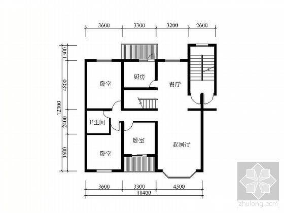 复式四室二厅户型图(295)