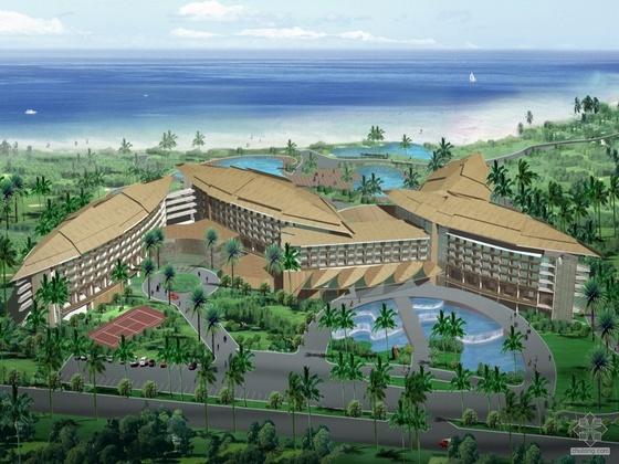 [三亚]某五星级酒店建筑方案图(含包含模型照片、客房方案、地下室方案)