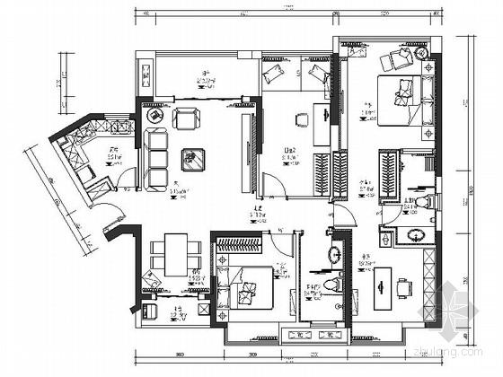 [湖北]欧式新古典4室2厅样板房室内设计CAD施工图(含效果图)