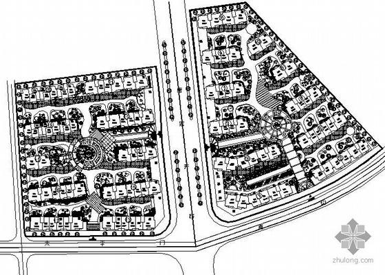 杭州某小区绿化设计总平面图