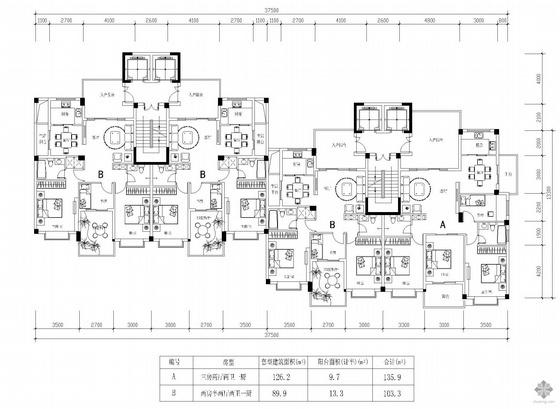 塔式高层一梯两户户型组合(136/103)
