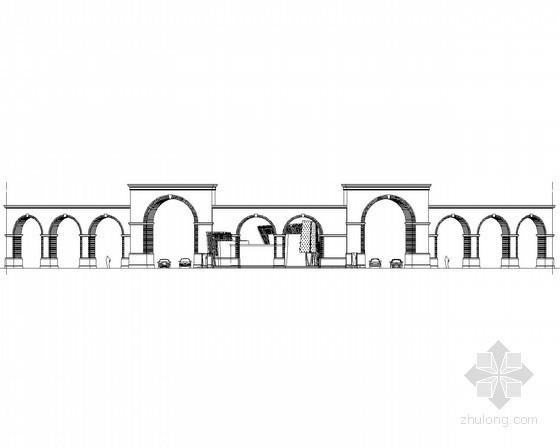 某欧式弧形大门建筑施工图