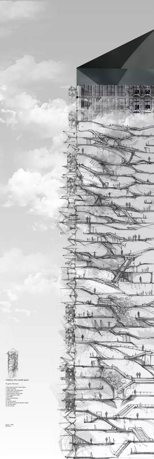 那些霸气的建筑剖面图_13