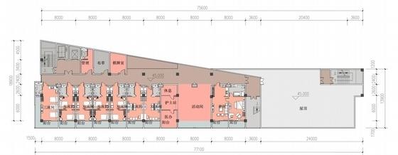 [江苏]多彩外廊开窗式老年公寓建筑设计方案文本(含CAD)-多彩外廊开窗式老年公寓建筑平面图
