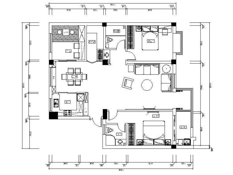 [合肥]简约温馨小户型2室2厅室内设计装修图(含效果图)