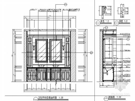 [杭州]某复古欧式三层别墅室内设计施工图 卫生间立面