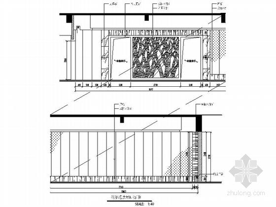 [广东]名师设计高档四星级国际酒店装修图休息大厅立面图
