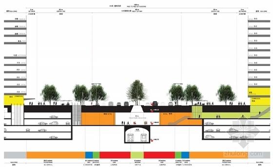 [成都]新城区现代风格概念性总体规划设计方案文本-知名地产区现代风格概念性总体规划剖面图
