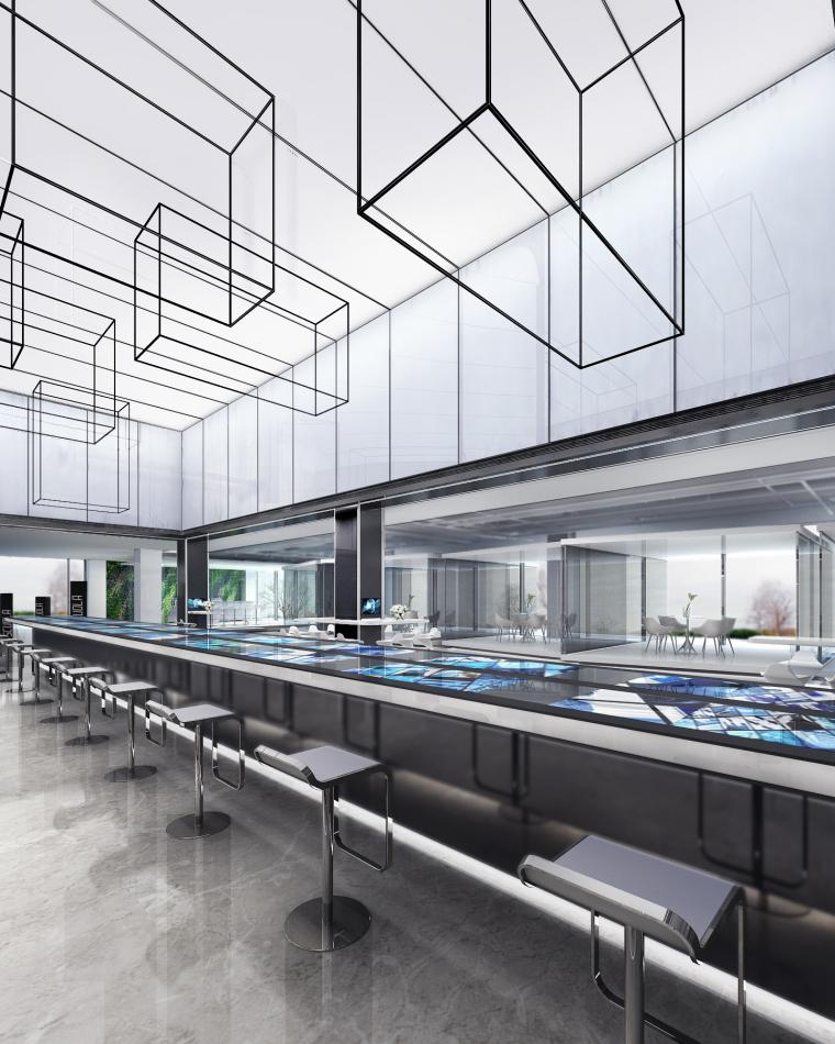 [上海]知名地产御河硅谷售楼空间设计施工图(附效果图+软装方案)-挑空区