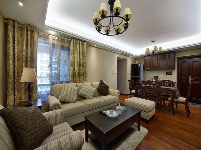 西安小区客厅电视背景墙设计美式田园风格效果图