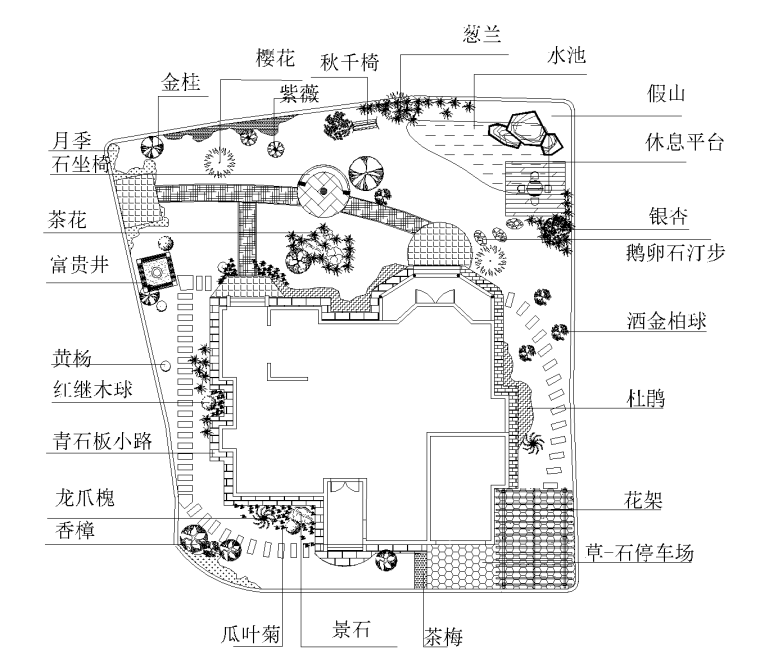 6套小庭院景观设计CAD平面图