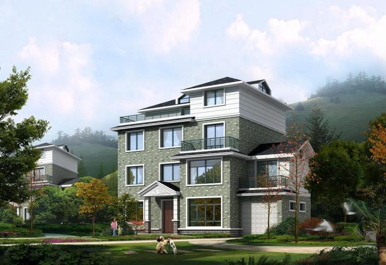 现代农民居别墅建筑方案文本(包含效果图+CAD)