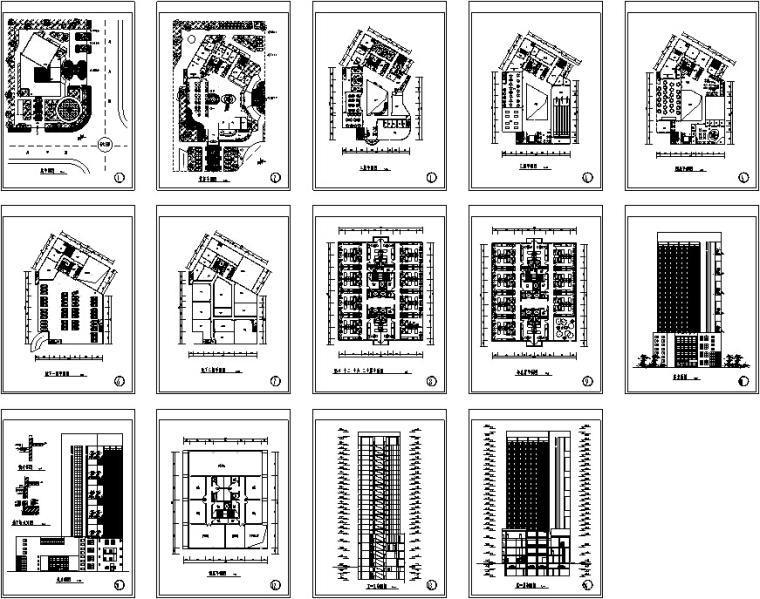 3套现代宾馆酒店建筑设计施工图CAD_12