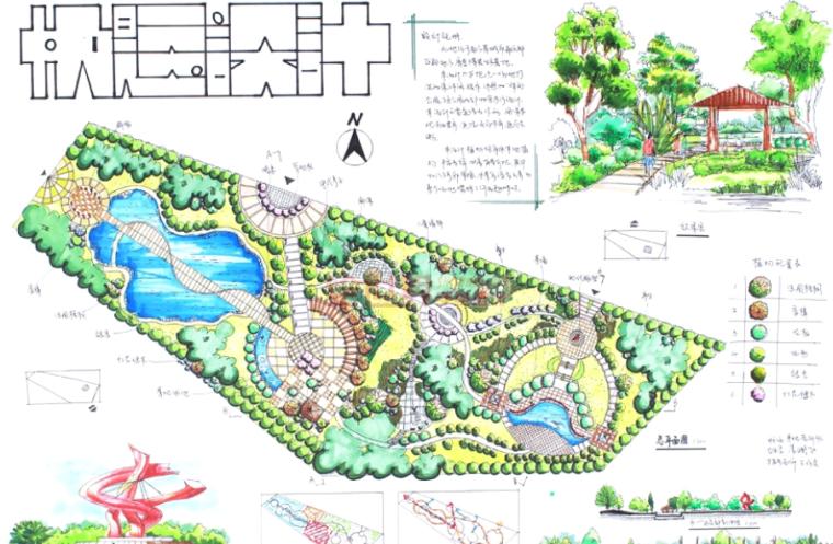 城市公园手绘快题设计方案30张